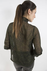Sketch London green black leopard print shirt blouse sleeves collar ethical sustainable women office smart casual