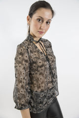 Sketch London grey black peacock print shirt blouse sleeves collar ethical sustainable women office smart casual
