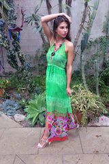 Sketch London Green Maxi Dress Bright Colourful Print Beachwear Cover up Summer 2016 Ethical Sustainable