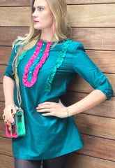 Sketch London Teal Pink Ruffle Mini Dress with Sleeves Crystal Embellishment Evening