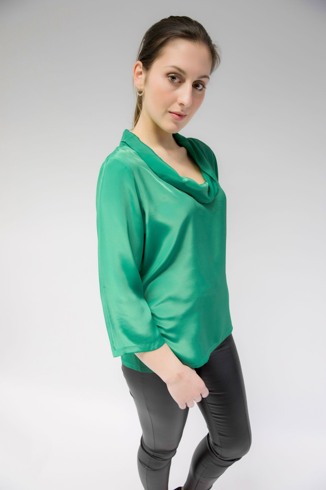 Emerald Green Brigitte Roll Neck Top