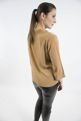 Brigitte Roll Neck Top, Gold
