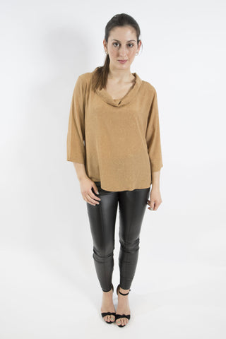 Sketch London cowl neck roll neck top gold caramel work office smart casual ethical sustainable women top with sleeves