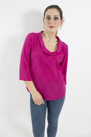 Sketch London cowl neck roll neck top pink magenta work office smart casual ethical sustainable women top with sleeves
