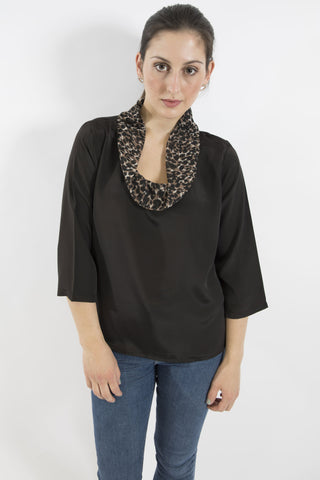 Leopard Brigitte Roll Neck Top