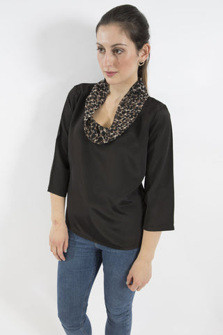 Sketch London cowl neck roll neck top leopard animal print black work office smart casual ethical sustainable women top with sleeves