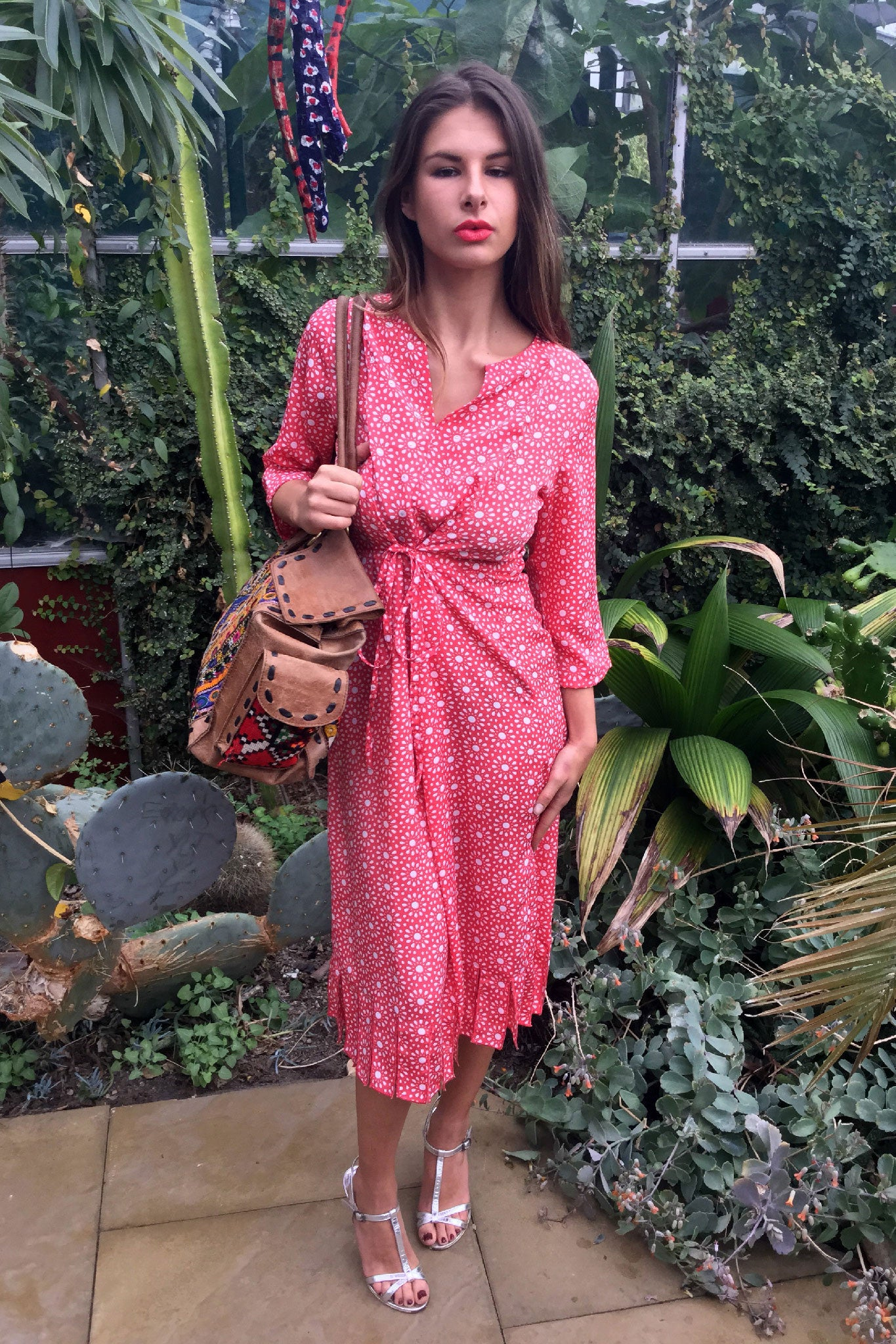 Sketch London Red Coral Print Midi Length Printed Summer Dress with Sleeves Flutter Fringe Streamer Hem Ethical Sustainable