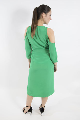 Emerald Green Cold Shoulder Dress