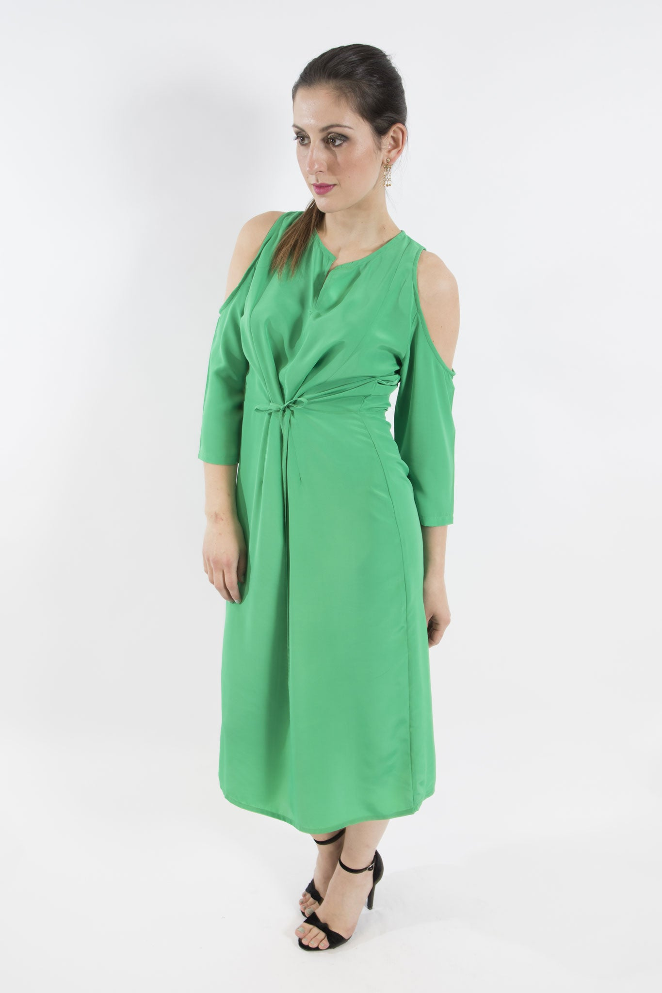 Sketch London emerald green dress cold shoulder date night evening cocktail ethical sustainable women