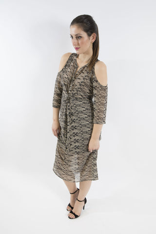 Sketch London lace print black nude dress cold shoulder date night evening cocktail ethical sustainable women