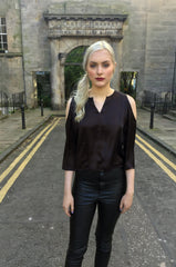 Sketch London Black Cold Shoulder Top Ethical Fashion Women