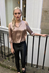 Sketch London Champagne Gold Cold Shoulder Top Ethical Fashion Women