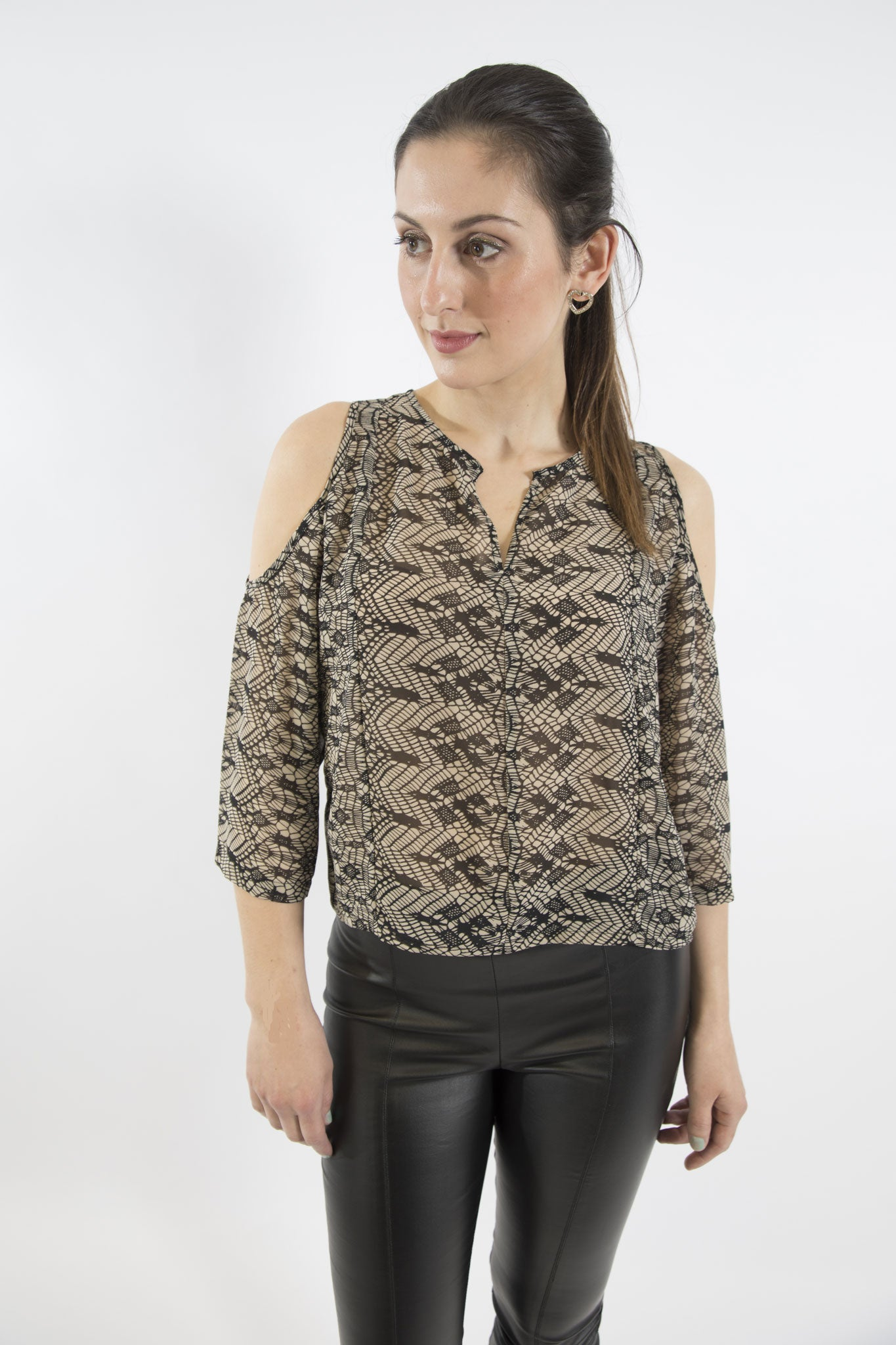 Sketch London black nude neutral lace print cold shoulder top ethical sustainable party going out