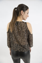 Sketch London leopard print cold shoulder top ethical sustainable party going out