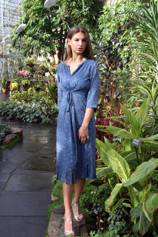 Sketch London Flutter Fringe Streamer Dress with Sleeves Midi Length Blue Summer 2016 Ethical Sustainable