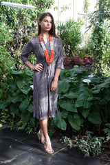 Sketch London Cotton Print Midi Length Summer Dress with Sleeves Flutter Fringe Streamer Hem Ethical Sustainable