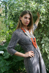 Sketch London Tangerine Orange Tribal Bead Shell Necklace for Women Ethical Sustainable Summer 2016