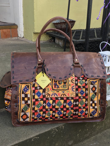 Shimla Antique Embroidery & Leather Travel Bag, Dark Brown Leather