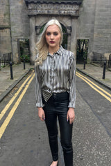 Sketch London Black & Gold Striped Satin Shirt Ethical Fashion Women