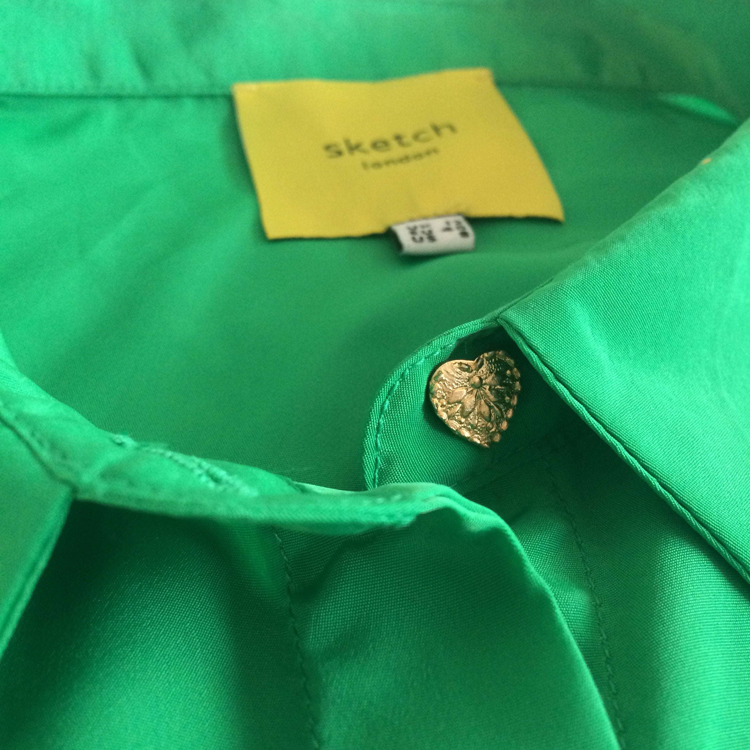 Sketch London Heart Button Emerald Green Shirt Blouse full sleeve ethical sustainable
