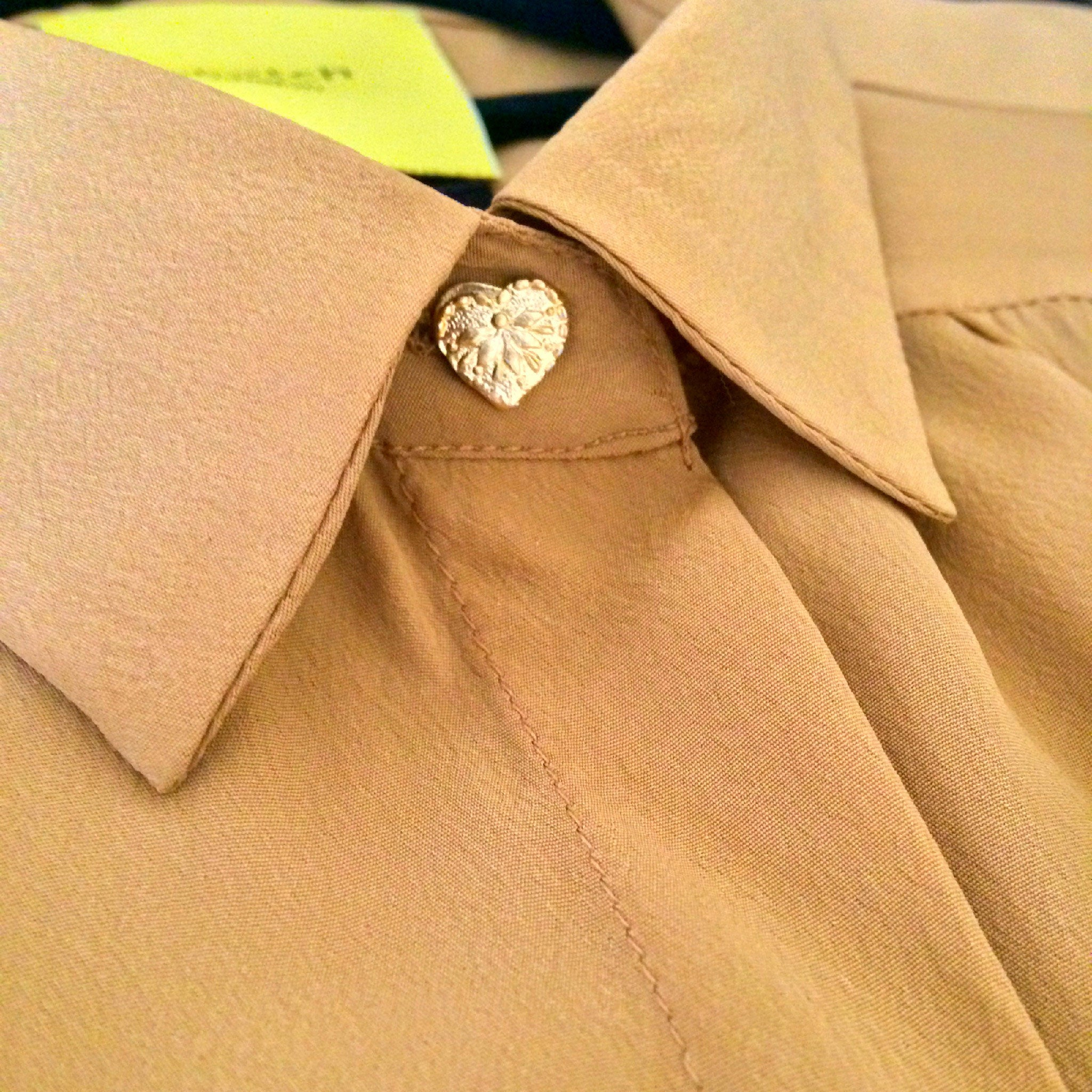 Sketch London Heart Button Gold Caramel Shirt Blouse full sleeve ethical sustainable