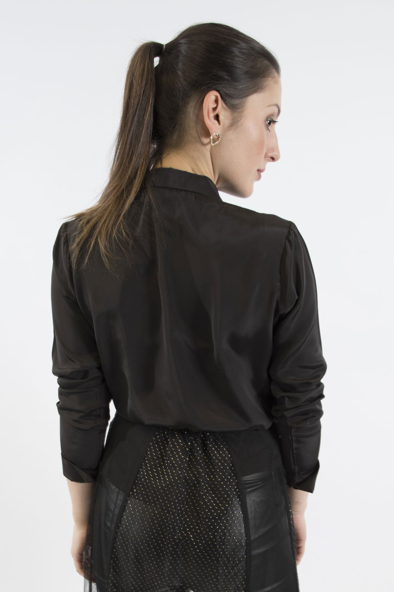 Sketch London Black French Crepe full sleeve Shirt work office smart casual ethical sustainable women