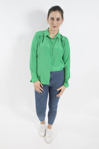 Sketch London Emerald Green French Crepe full sleeve Shirt work office smart casual ethical sustainable women