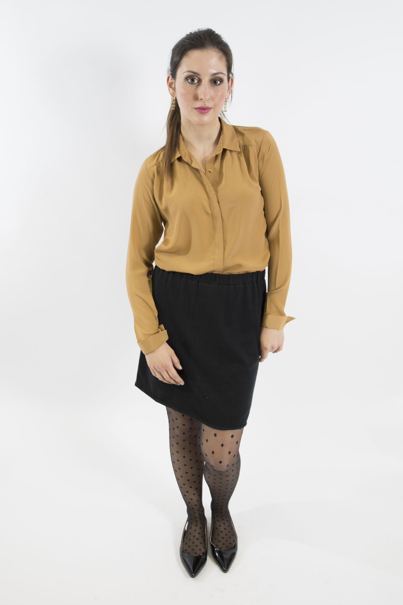 Sketch London Caramel Gold French Crepe full sleeve Shirt work office smart casual ethical sustainable women