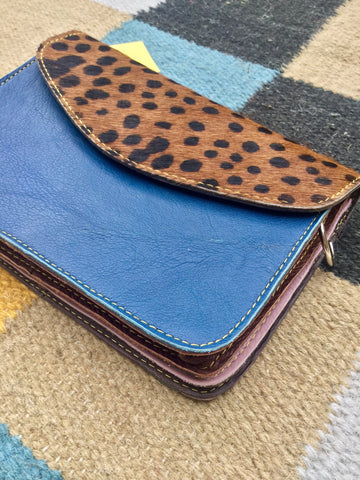 Animal Print Envelope Bag, Cheetah & Sapphire