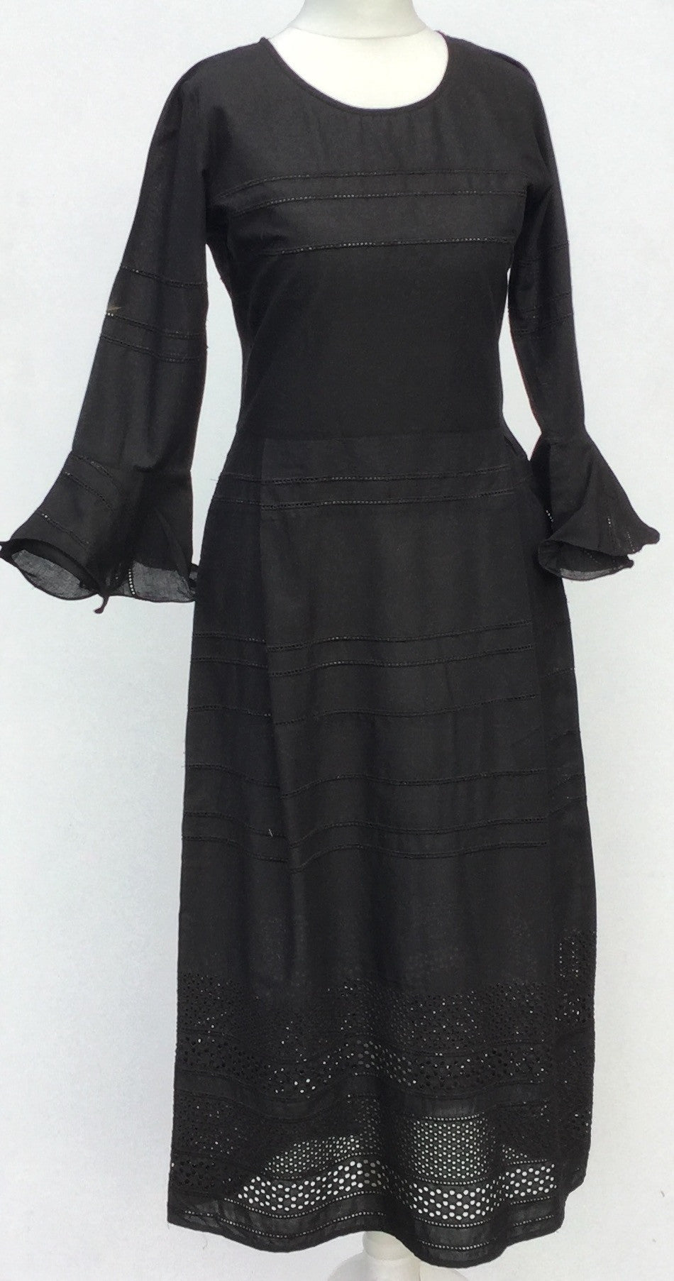 Sketch London Fashion Midi length black cotton dress broderie anglaise ethical sustainable fashion british design