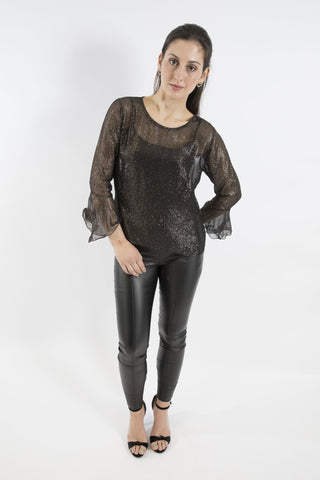 Sketch London top with sleeves black gold silver lurex flared ruffle cuff ethical sustainable going out evening party top