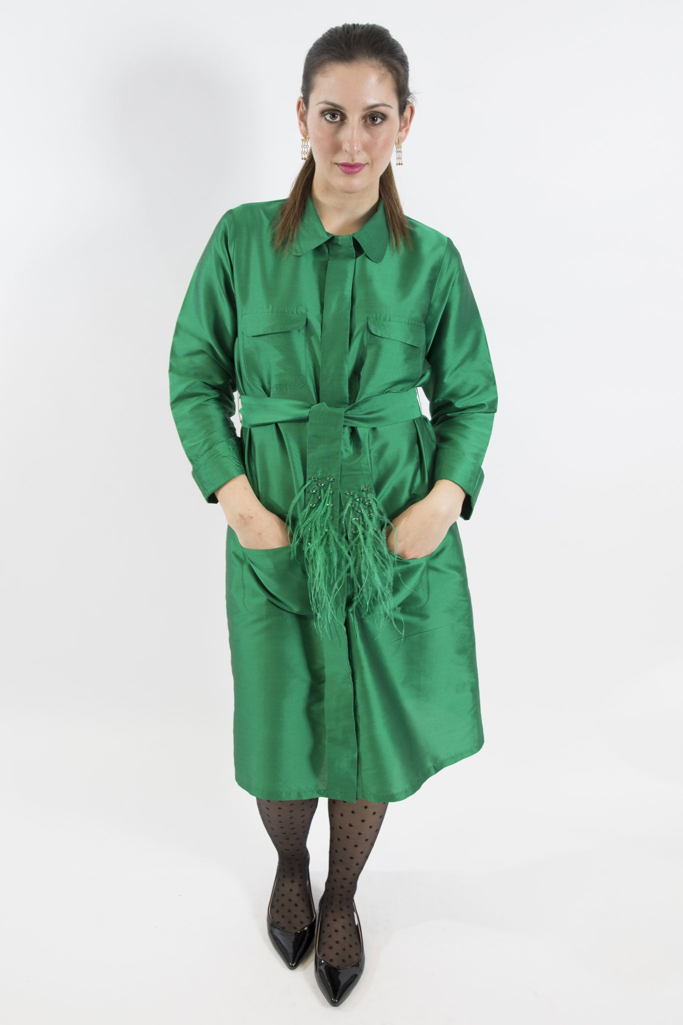 Sketch London Emerald Green Ostrich Feather Trench Coat Evening Opera Party cover up ethical sustainable luxury eco women