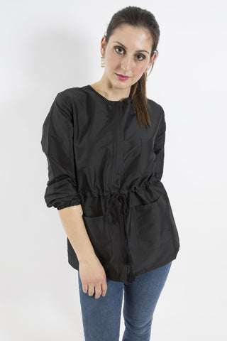 Sketch London Black Taffeta anorak zip tassels jacket smart casual ethical sustainable luxury women