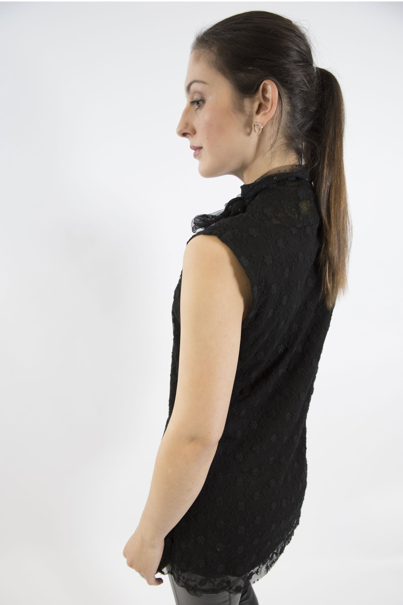 Sketch London Rose Lace Sleeveless Black Top with Scarf smart casual ethical sustainable women