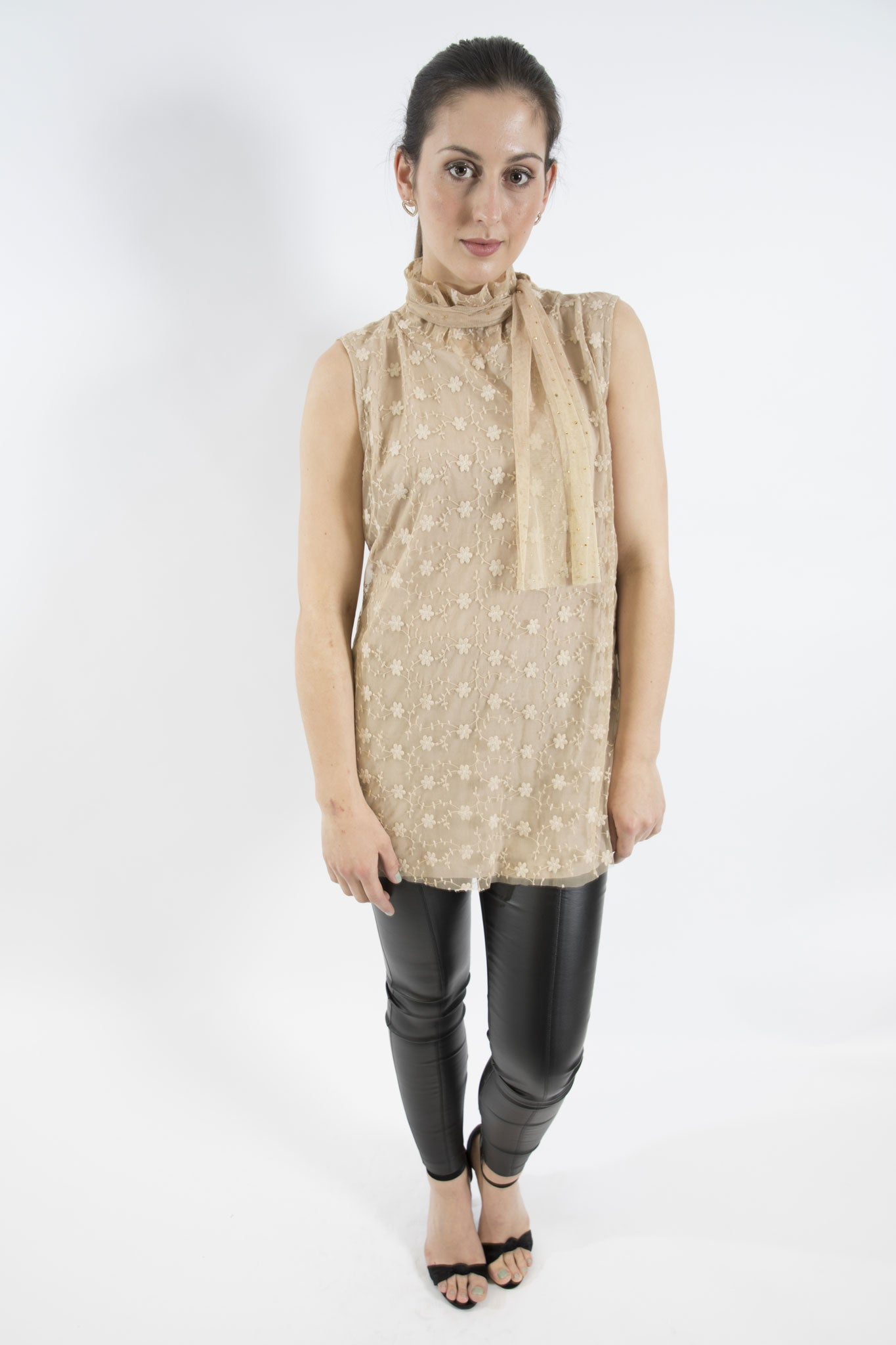 Lace Top with Scarf, Beige