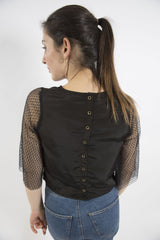 Sketch London black button back top lace sleeves ethical sustainable