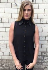 Sketch London 1980s Zig Zag Collar Sleeveless Shirt Black