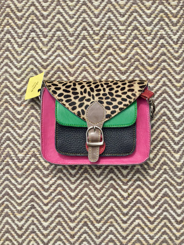 Sketch London fashion leather satchel bags animal print green pink cheetah
