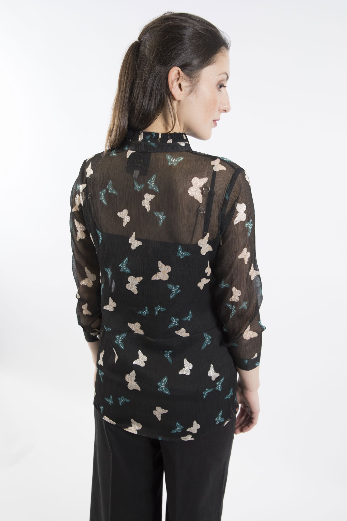 Sketch London butterfly pleat neck shirt blouse with sleeves big pearl buttons black teal silver ethical sustainable