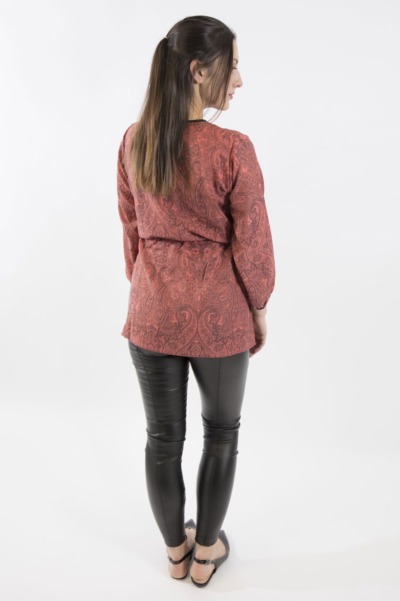Sketch London rose print drawstring tunic with sleeves and keyhole neckline ethical sustainable smart casual
