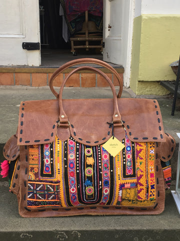 Shimla Antique Embroidery & Leather Travel Bag, Tan Leather