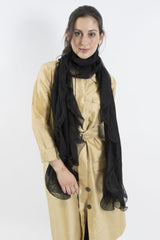 Sketch London chiffon ruffle merino wool scarf black ethcial sustainable