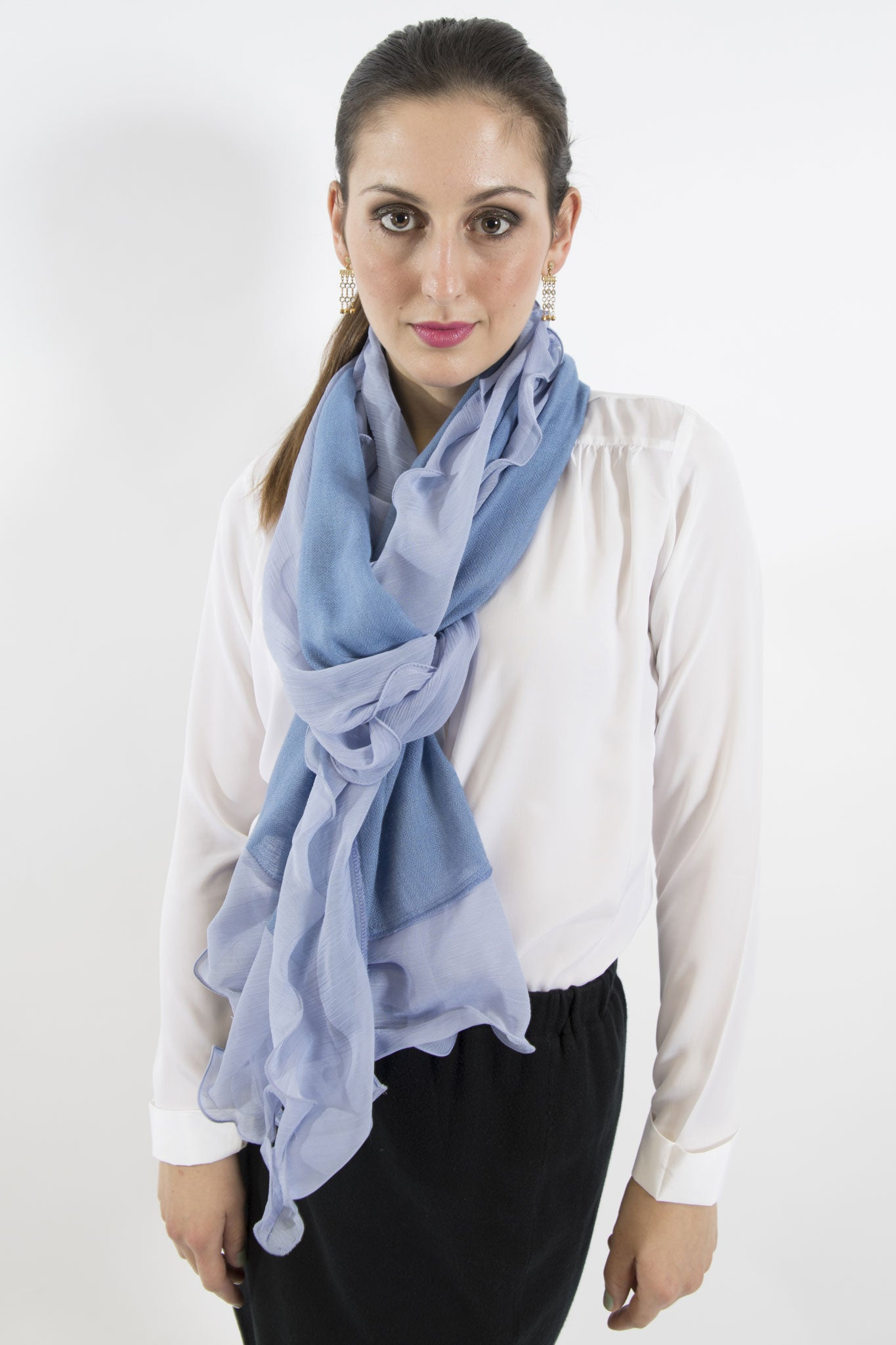 Sketch London chiffon ruffle merino wool scarf ice blue ethcial sustainable