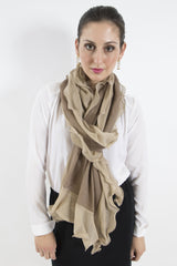 Sketch London chiffon ruffle merino wool scarf caramel gold ethcial sustainable