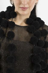 Sketch London Vegan friendly screen siren cotton black pom pom scarf ethcial sustainable