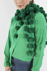 Sketch London Vegan friendly screen siren cotton emerald green pom pom scarf ethcial sustainable