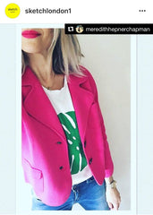 Sketch London Fashion Juliette Blazer Hot Pink Cotton Petite Smart Casual Outerwear Women