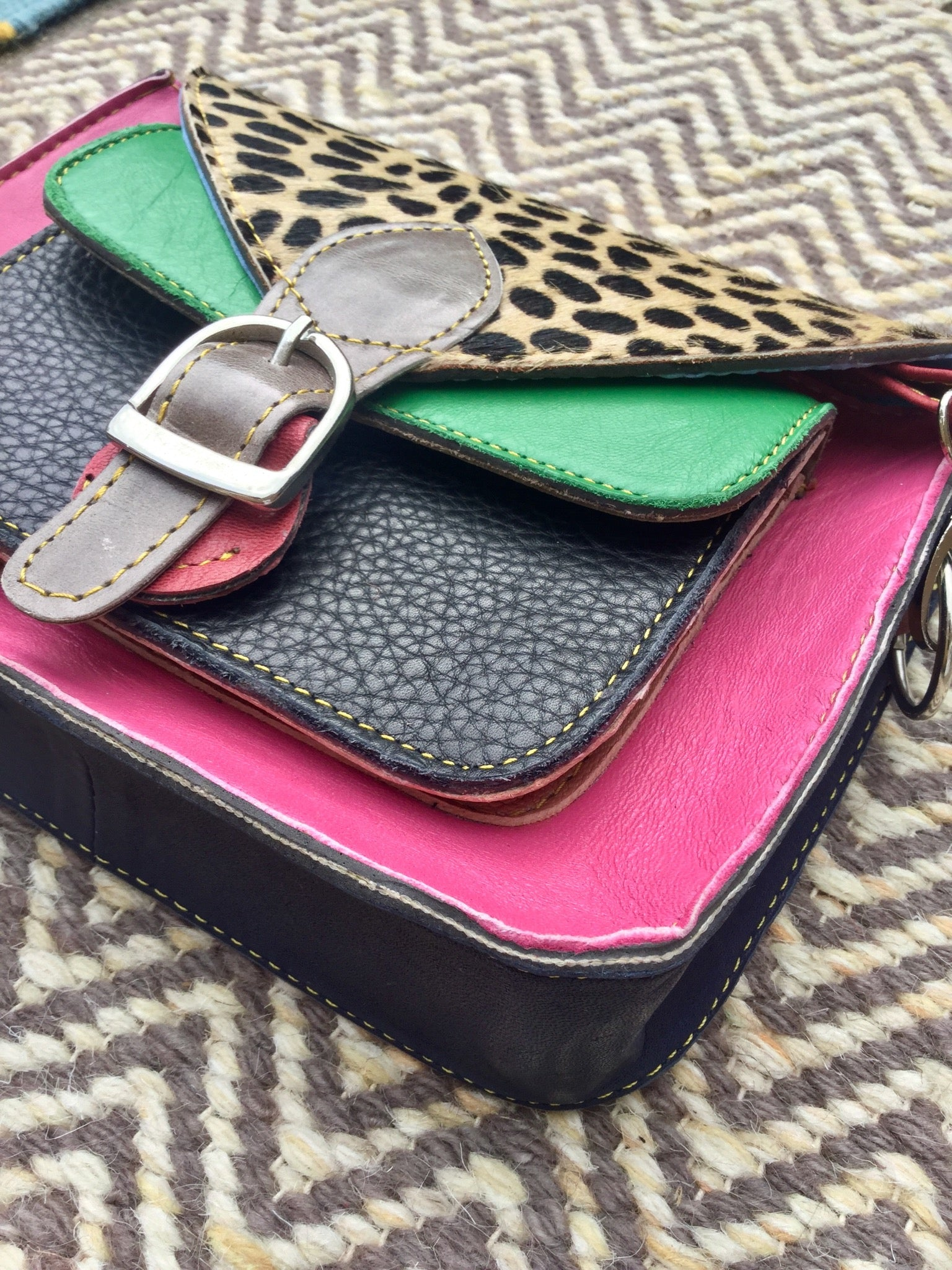 Sketch London fashion animal print satchel bags pink green upcycled leather cheetah