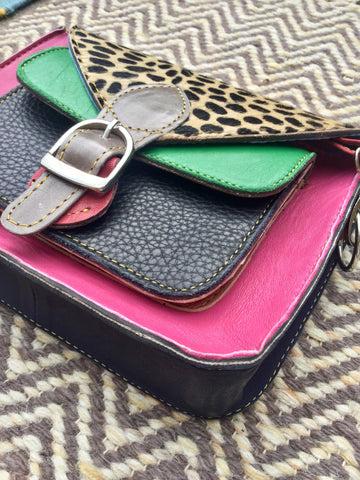 Cheetah Print Satchel Bag: Hot Pink & Parrot Green