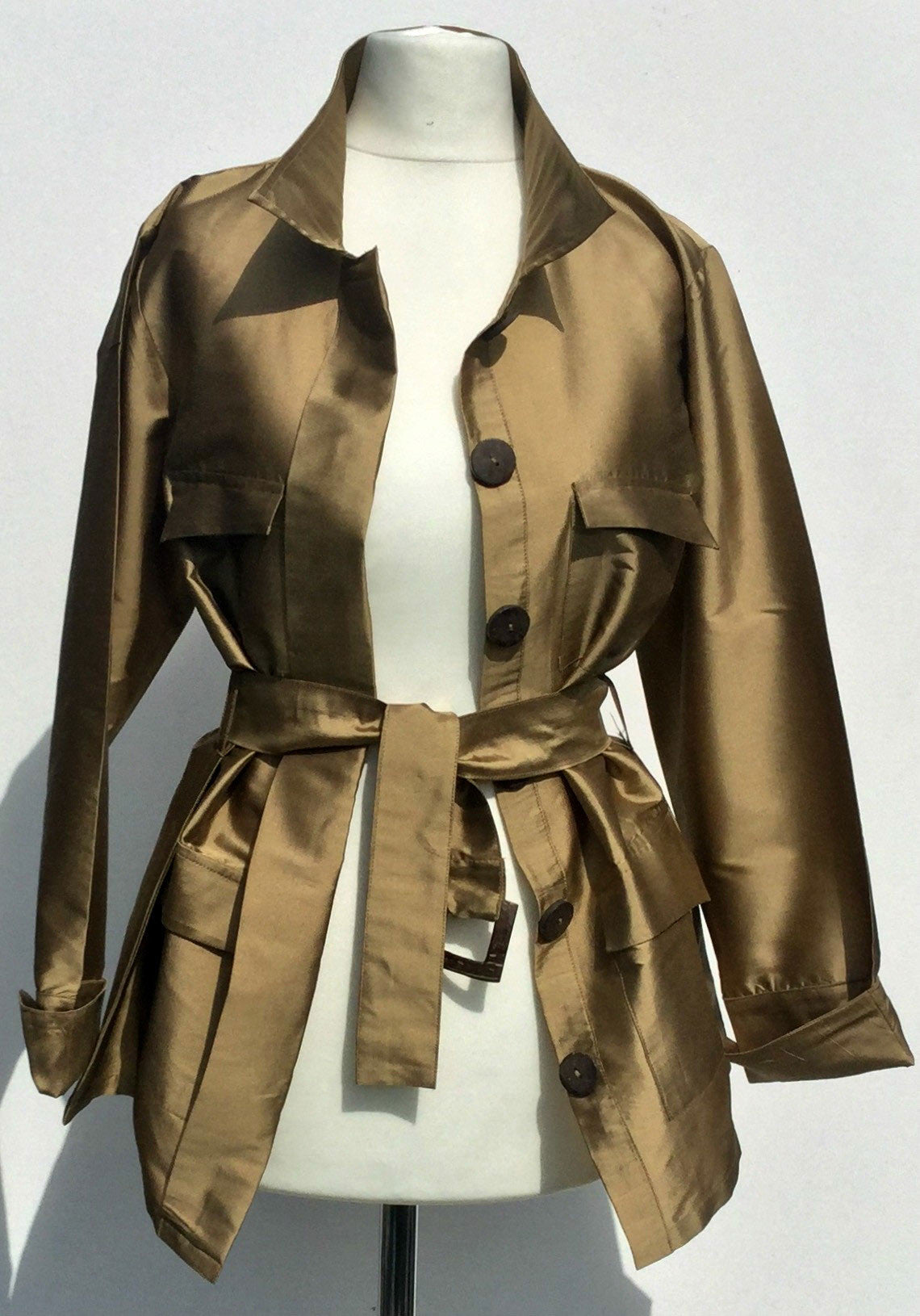 Sketch London Fashion Gazelle Safari Jacket Gold Taffeta Ethical Sustainable Women Independent British Designer